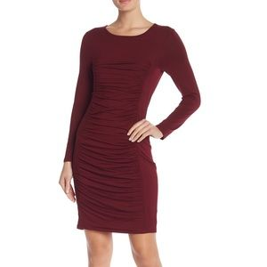Spense burgundy ruched front long sleeve dress